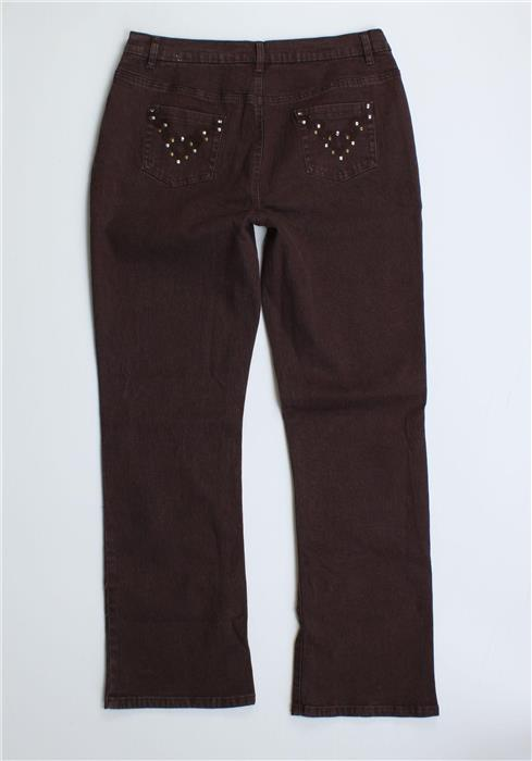 DIANE GILMAN Womens 12 Rhinestone Stretch Boot Cut Jeans Color Denim Brown Sale